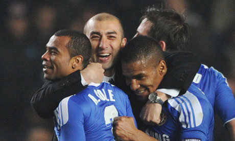 Chelsea Coach Roberto Di Matteo hugging his players