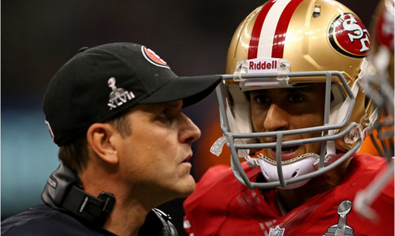 kaepernick and harbaugh 2013 superbowl